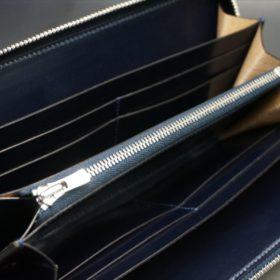 新喜皮革社製オイルコードバンのネイビーカラーのラウンドファスナー長財布(ファスナーシルバー)-10