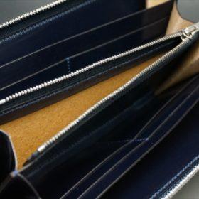 新喜皮革社製オイルコードバンのネイビーカラーのラウンドファスナー長財布(ファスナーシルバー)-12