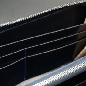 新喜皮革社製オイルコードバンのネイビーカラーのラウンドファスナー長財布(ファスナーシルバー)-13