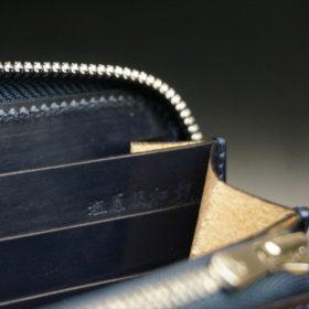 新喜皮革社製オイルコードバンのネイビーカラーのラウンドファスナー長財布(ファスナーシルバー)-14