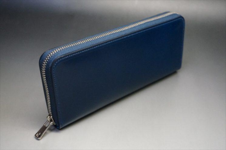 新喜皮革社製オイルコードバンのネイビーカラーのラウンドファスナー長財布(ファスナーシルバー)-2