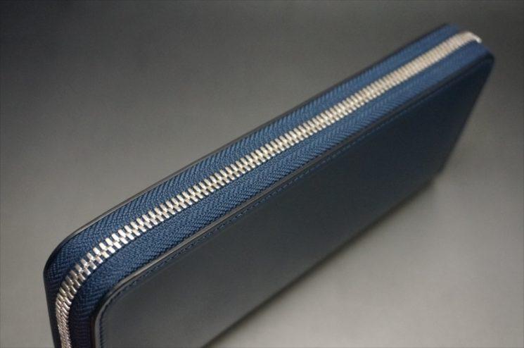 新喜皮革社製オイルコードバンのネイビーカラーのラウンドファスナー長財布(ファスナーシルバー)-4