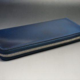 新喜皮革社製オイルコードバンのネイビーカラーのラウンドファスナー長財布(ファスナーシルバー)-6