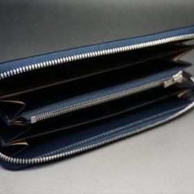新喜皮革社製オイルコードバンのネイビーカラーのラウンドファスナー長財布(ファスナーシルバー)-7