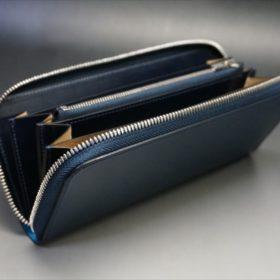 新喜皮革社製オイルコードバンのネイビーカラーのラウンドファスナー長財布(ファスナーシルバー)-9