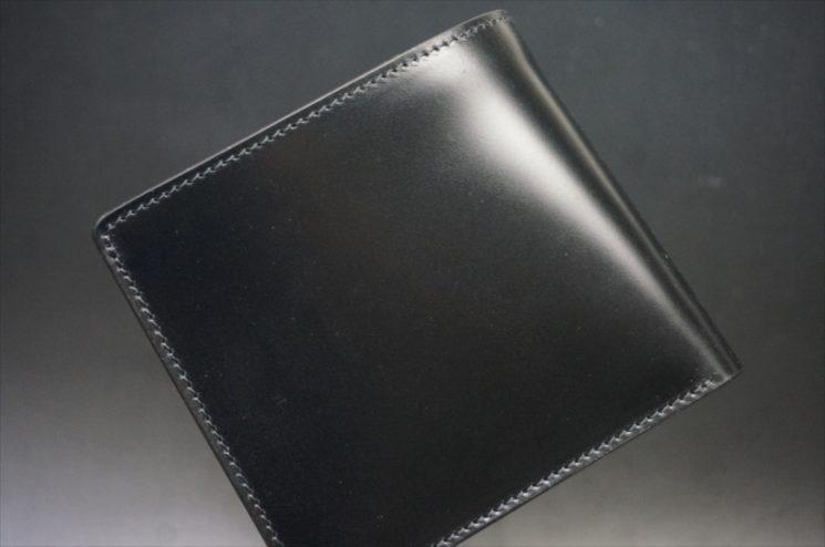新喜皮革社製オイルコードバンのブラック色の二つ折り財布(シルバー色)-1-1