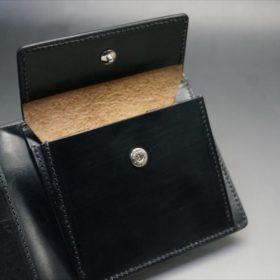 新喜皮革社製オイルコードバンのブラック色の二つ折り財布(シルバー色)-1-10