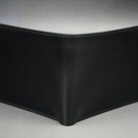 新喜皮革社製オイルコードバンのブラック色の二つ折り財布(シルバー色)-1-2