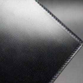 新喜皮革社製オイルコードバンのブラック色の二つ折り財布(シルバー色)-1-3