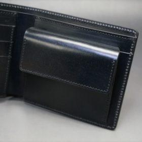 新喜皮革社製オイルコードバンのブラック色の二つ折り財布(シルバー色)-1-8