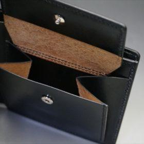 新喜皮革社製オイルコードバンのブラック色の二つ折り財布(シルバー色)-1-9
