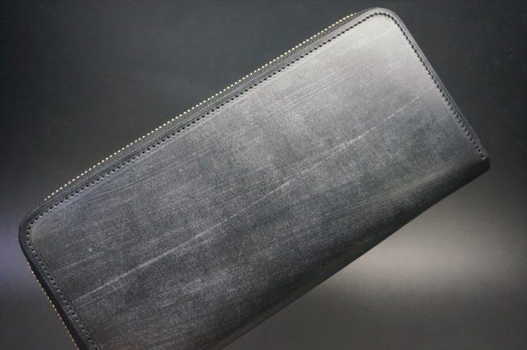 メトロポリタン社製ブライドルレザーのベンズ部位のブラック色のラウンドファスナー長財布(ゴールド色)-1-1