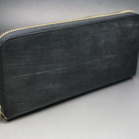 メトロポリタン社製ブライドルレザーのベンズ部位のブラック色のラウンドファスナー長財布(ゴールド色)-1-2