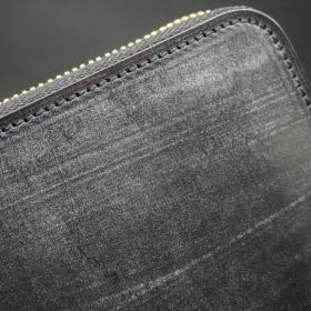 メトロポリタン社製ブライドルレザーのベンズ部位のブラック色のラウンドファスナー長財布(ゴールド色)-1-3