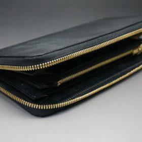 メトロポリタン社製ブライドルレザーのベンズ部位のブラック色のラウンドファスナー長財布(ゴールド色)-1-5