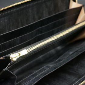 メトロポリタン社製ブライドルレザーのベンズ部位のブラック色のラウンドファスナー長財布(ゴールド色)-1-6