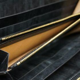 メトロポリタン社製ブライドルレザーのベンズ部位のブラック色のラウンドファスナー長財布(ゴールド色)-1-7