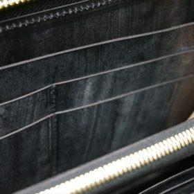 メトロポリタン社製ブライドルレザーのベンズ部位のブラック色のラウンドファスナー長財布(ゴールド色)-1-8