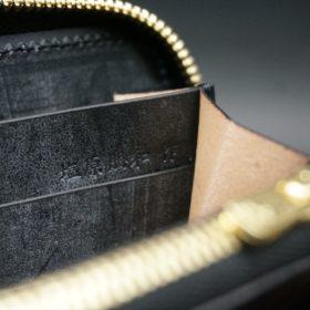 メトロポリタン社製ブライドルレザーのベンズ部位のブラック色のラウンドファスナー長財布(ゴールド色)-1-9