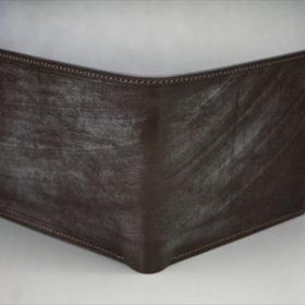 メトロポリタン社製ブライドルレザーのベンズ部位のダークブラウン色の二つ折り財布(ゴールド)-1-2