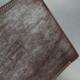 メトロポリタン社製ブライドルレザーのベンズ部位のダークブラウン色の二つ折り財布(ゴールド)-1-3