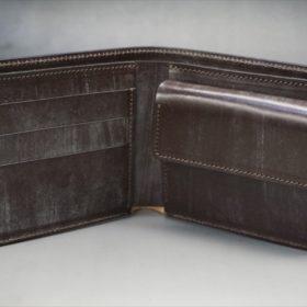 メトロポリタン社製ブライドルレザーのベンズ部位のダークブラウン色の二つ折り財布(ゴールド)-1-5