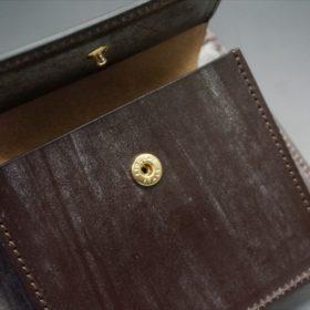 メトロポリタン社製ブライドルレザーのベンズ部位のダークブラウン色の二つ折り財布(ゴールド)-1-9