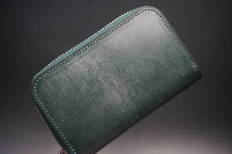セドウィック社製ブライドルレザーのダークグリーン色のラウンドファスナー小銭入れ(シルバー色)-1-1