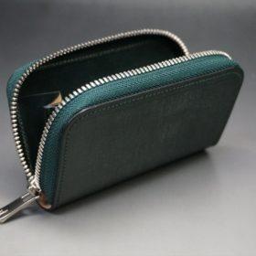 セドウィック社製ブライドルレザーのダークグリーン色のラウンドファスナー小銭入れ(シルバー色)-1-10