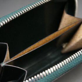 セドウィック社製ブライドルレザーのダークグリーン色のラウンドファスナー小銭入れ(シルバー色)-1-12