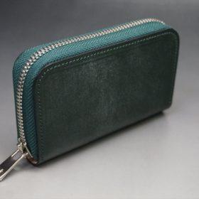 セドウィック社製ブライドルレザーのダークグリーン色のラウンドファスナー小銭入れ(シルバー色)-1-2