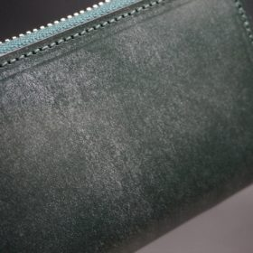 セドウィック社製ブライドルレザーのダークグリーン色のラウンドファスナー小銭入れ(シルバー色)-1-3