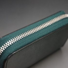 セドウィック社製ブライドルレザーのダークグリーン色のラウンドファスナー小銭入れ(シルバー色)-1-4
