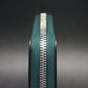 セドウィック社製ブライドルレザーのダークグリーン色のラウンドファスナー小銭入れ(シルバー色)-1-5