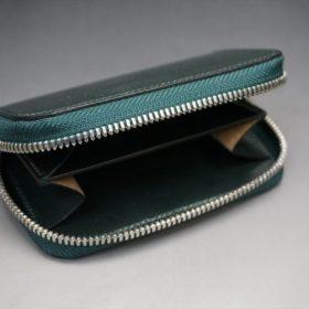 セドウィック社製ブライドルレザーのダークグリーン色のラウンドファスナー小銭入れ(シルバー色)-1-7