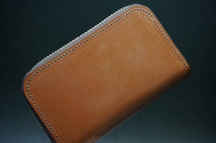 セドウィック社製ブライドルレザーのヘーゼル色のラウンドファスナー小銭入れ(シルバー色)-1-1