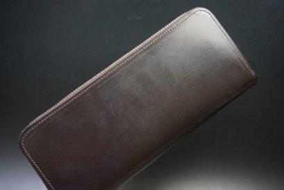 セドウィック社製ブライドルレザーのチョコ色のラウンドファスナー長財布(シルバー色)-1-1