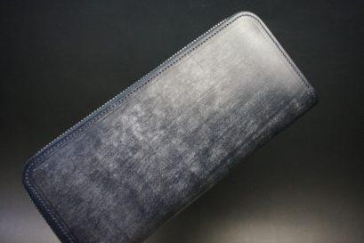 セドウィック社製ブライドルレザーのネイビー色のラウンドファスナー長財布(シルバー色)-1-1