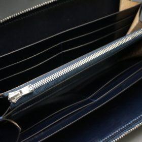セドウィック社製ブライドルレザーのネイビー色のラウンドファスナー長財布(シルバー色)-1-10