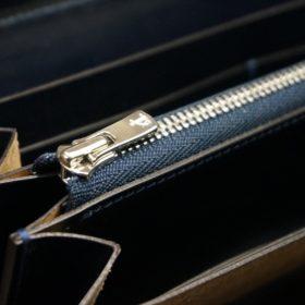 セドウィック社製ブライドルレザーのネイビー色のラウンドファスナー長財布(シルバー色)-1-11