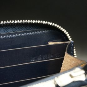 セドウィック社製ブライドルレザーのネイビー色のラウンドファスナー長財布(シルバー色)-1-14