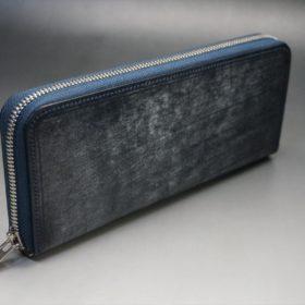 セドウィック社製ブライドルレザーのネイビー色のラウンドファスナー長財布(シルバー色)-1-2