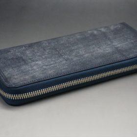 セドウィック社製ブライドルレザーのネイビー色のラウンドファスナー長財布(シルバー色)-1-6