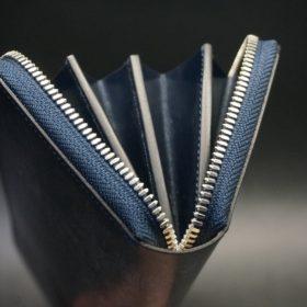 セドウィック社製ブライドルレザーのネイビー色のラウンドファスナー長財布(シルバー色)-1-8