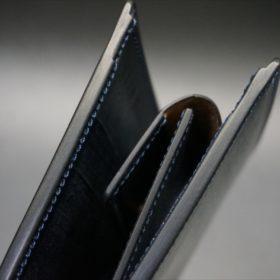 セドウィック社製ブライドルレザーのネイビー色の二つ折り財布(小銭入れ付き)-1-4