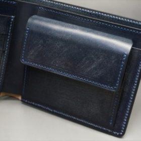 セドウィック社製ブライドルレザーのネイビー色の二つ折り財布(小銭入れ付き)-1-8
