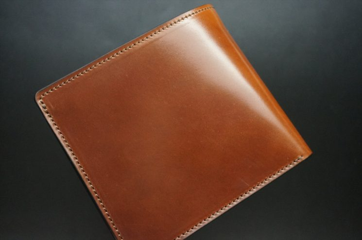 ホーウィン社製シェルコードバンの#4色の二つ折り財布(ゴールド色)-1-1