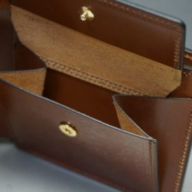 ホーウィン社製シェルコードバンの#4色の二つ折り財布(ゴールド色)-1-10