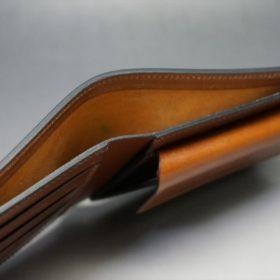 ホーウィン社製シェルコードバンの#4色の二つ折り財布(ゴールド色)-1-6