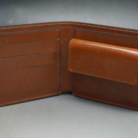 ホーウィン社製シェルコードバンの#4色の二つ折り財布(ゴールド色)-1-7